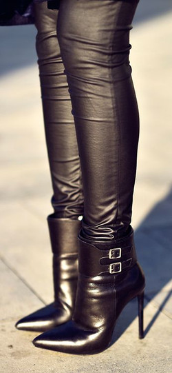 leather pants and ankle boots
