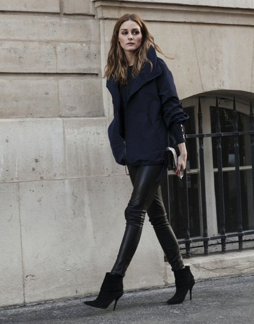 olivia palermo in leather pants