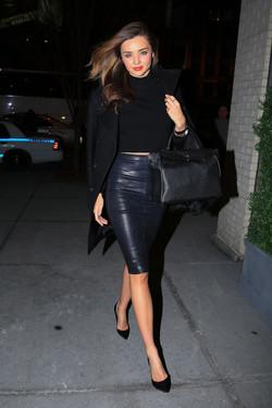 miranda kerr in leather pencil skirt
