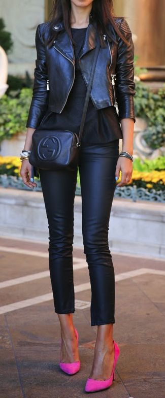 wearing leather pants and leather jacket