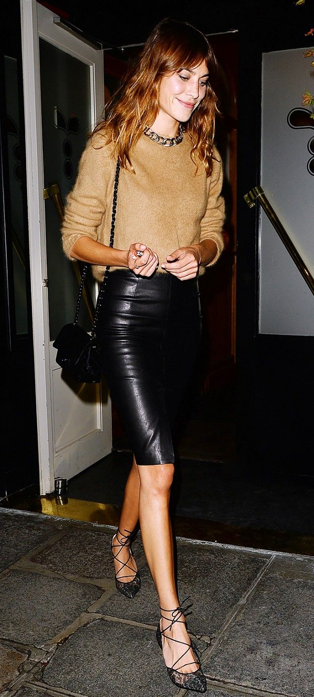 alexa chung in leather pencil skirt