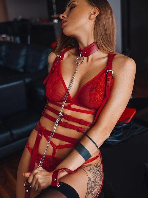 Angel Passion Kırmızı Tasmalı Deri Jartiyer Takım - APFT233