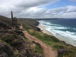 Iconic St Agnes coastine with tin mine