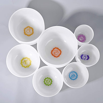 Set of 7 Crystal Bowls with Yantras