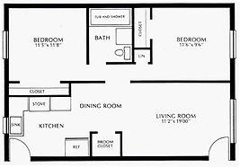 Colonial Village Two Bedroom Floor Plan
