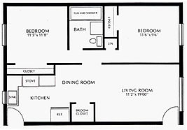 Colonial Village Two Bedroom Floor Plan