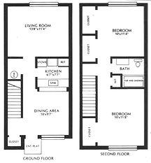 Lakewood Village Apartments Two Bedroom Townhouse Floor Plan