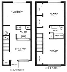 Lakewood Village Apartments Two Bedroom Townhouse Floor Plan