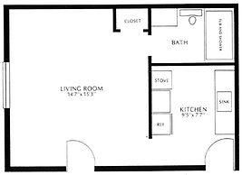 Colonial Village Efficiency Floor Plan