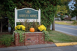 Ashley Arms Apartments front sign - Click to view Ashley's Home Page
