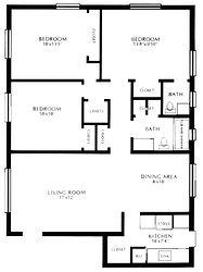 Lakewod Village Apartments Three Bedroom Floor Plan