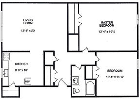 Sutton Place Apartments Two Bedroom XL Floor Plan