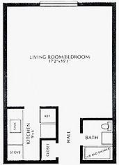 Lakewood Village Apartments Efficiency Floor Plan