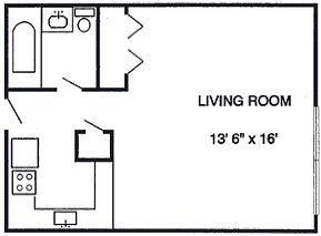 Sutton Place Apartmets Efficiency Floor Plan