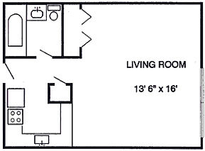 Sutton Place Apartmets Efficiency Floor Plan