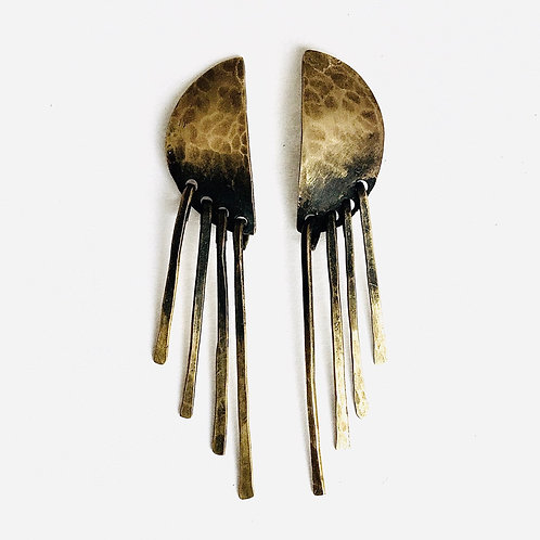 Half Moon Fringe Post Earrings (brass) + Apparel