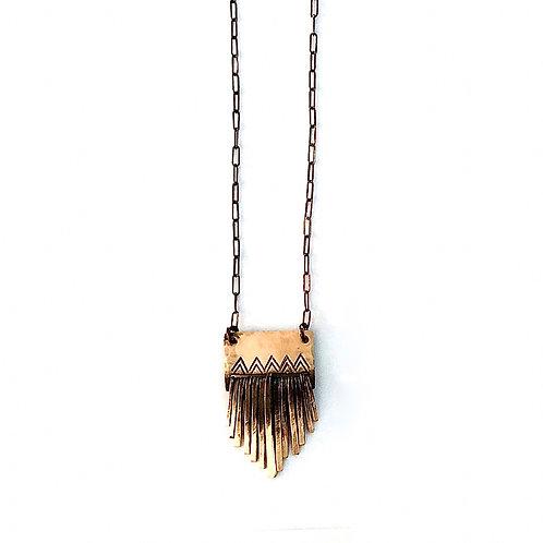 Chevron Fringe Necklace (brass) + Apparel