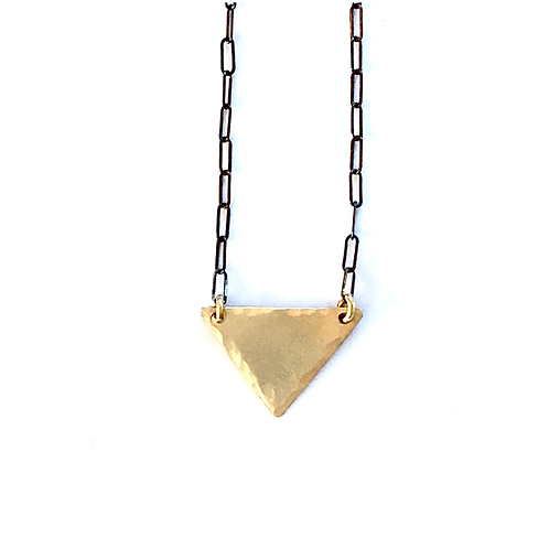 Small Wide Triangle Necklace (brass) + Apparel