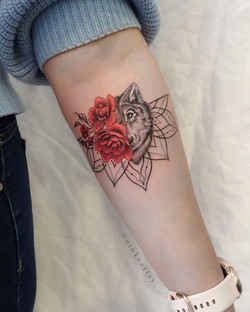 wolf and red peonies