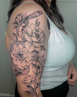 snake and peonies