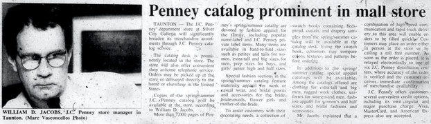Penney catalog prominent in mall store