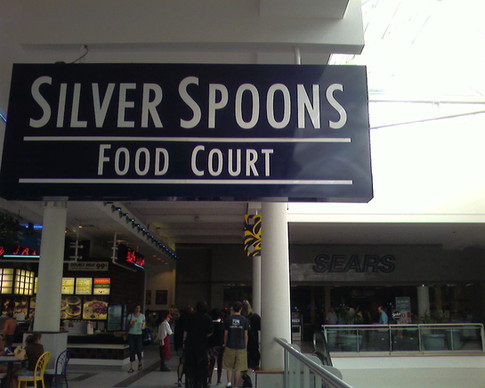 View of the Silver Spoons sign, looking toward Sarku Japan and Sears, 2006