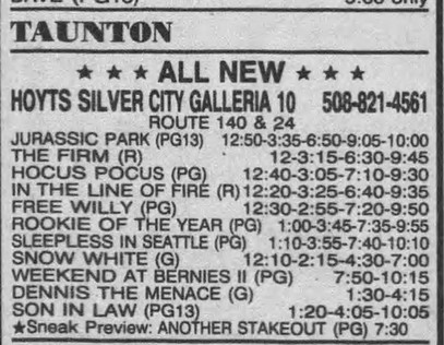 Opening weekend showtimes, 1993