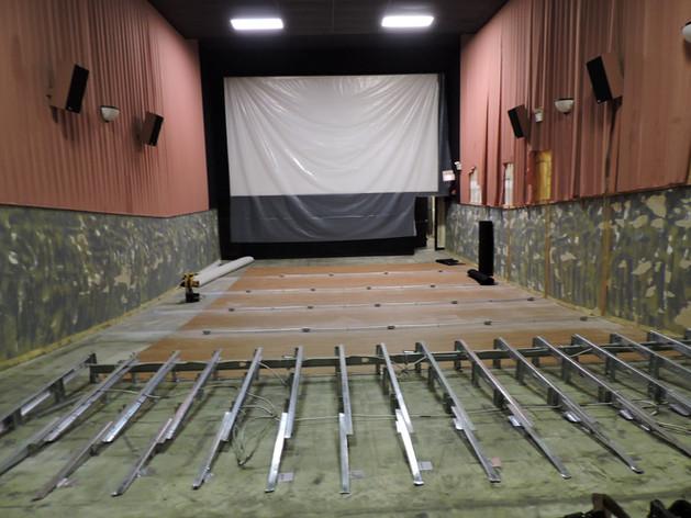 Auditorium during renovation and construction of stadium seating, 2015