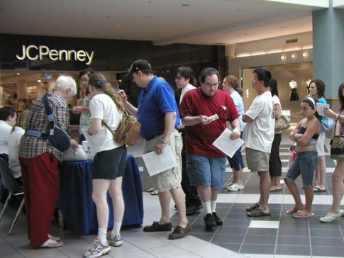 Crowds gather at an event outside of JCPenney, 2014