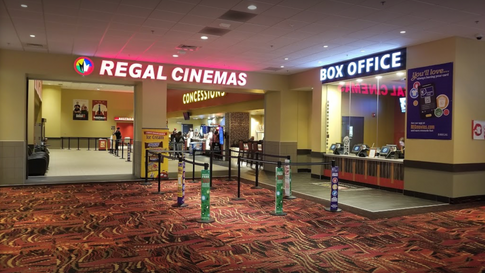 New cinema lobby, viewing from what was originally Claires Etc. The original lobby is behind the Regal Cinemas sign, 2017.