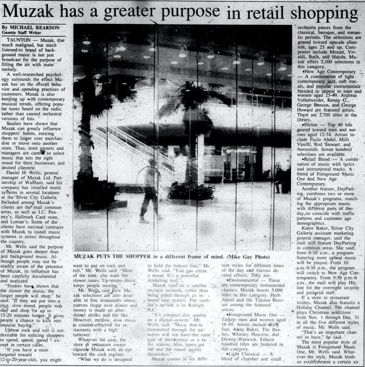 Muzak has a greater purpose in retail shopping