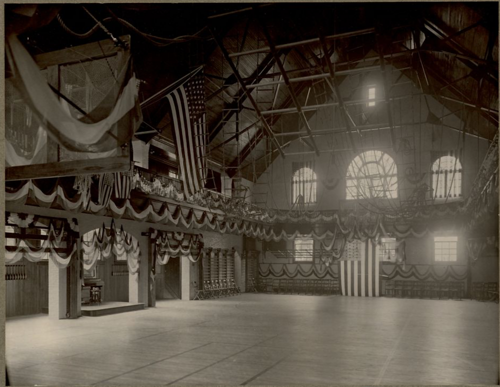 Boyden Gymnasium decorated for its dedication ceremony, 1905. From the Maxwell Library at BSU.