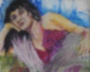 Reclining girl (oil Pastel) 8x10