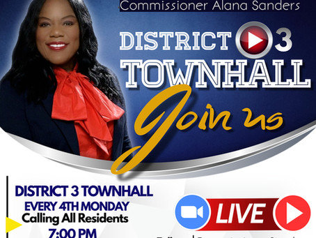 District 3 Town hall meeting this Monday