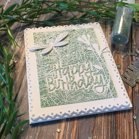 Embossed Glittered Background with Simon Says Stamp