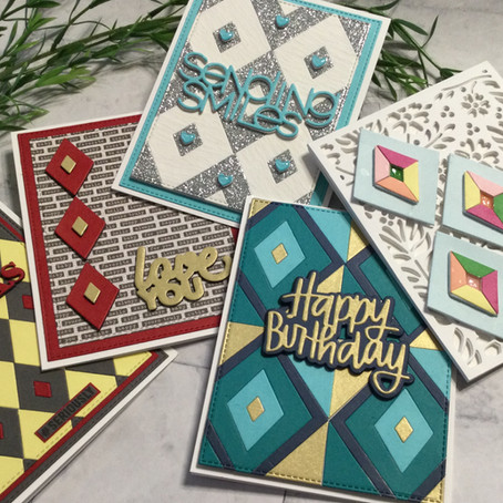 'Diamond Tiles' Background and Accents in all Die Cut Cards