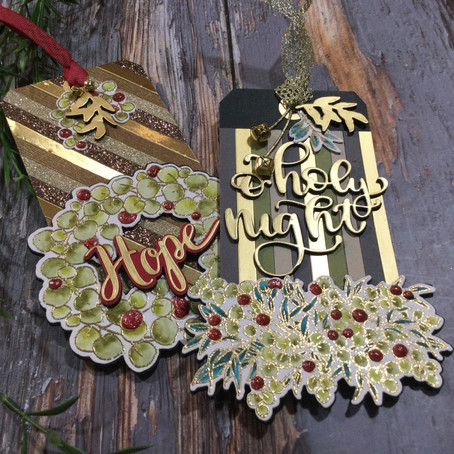 Paper Pieced Christmas Tags featuring Eucalyptus Fantasy