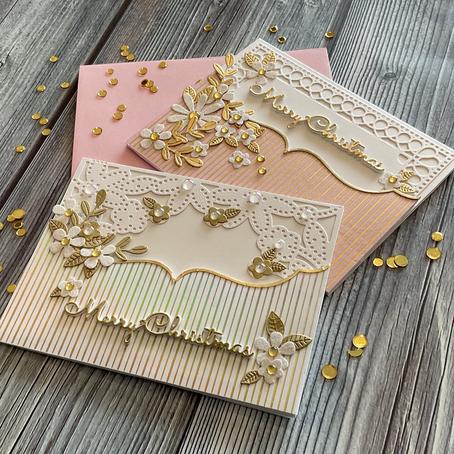 Hot Foiled Christmas Cards featuring Spellbinders' Pinstripe Bracket Card Builder