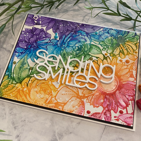Faux Watercolour Rainbow Blooms with Simon Says Stamp's Delicate Outline Flowers
