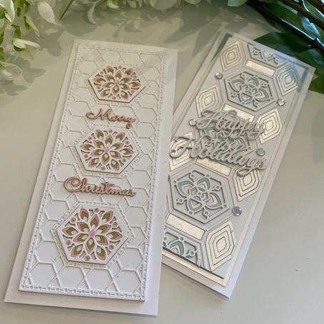 Slimline Christmas Cards featuring Spellbinders' Hex Kaleidoscope
