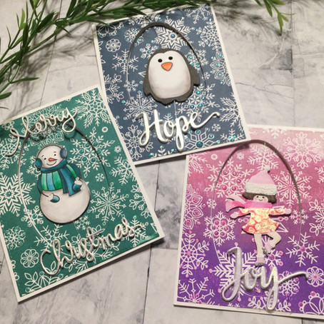 Spinner Christmas Cards featuring Simon Says Stamp's All Snowflake Background