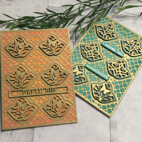 Creating a Die Cut Background with a Panel Die featuring Spellbinders' Trefoil Tile and Panel