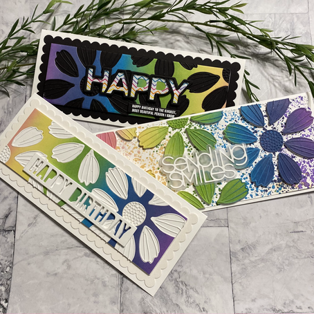 3 for 1 Rainbow Cards .... featuring Simon Says Stamp's Cosmo Flower Petals