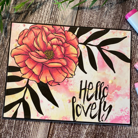 Ink Smooshing with Digital Stamps featuring     Graciellie Design 'Hey Beautiful'