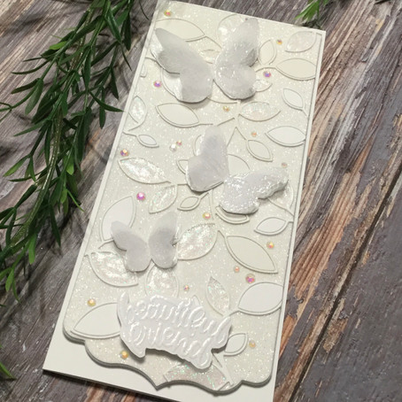 All White Slimline Card featuring Simon Says Stamp's Beautiful Butterflies