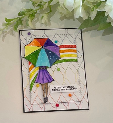 Rainbow Embossed Colours featuring Simon Says Stamp's Hexagon Background