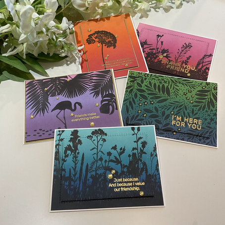 Silhouette Friendship Cards featuring Simon Says Stamp