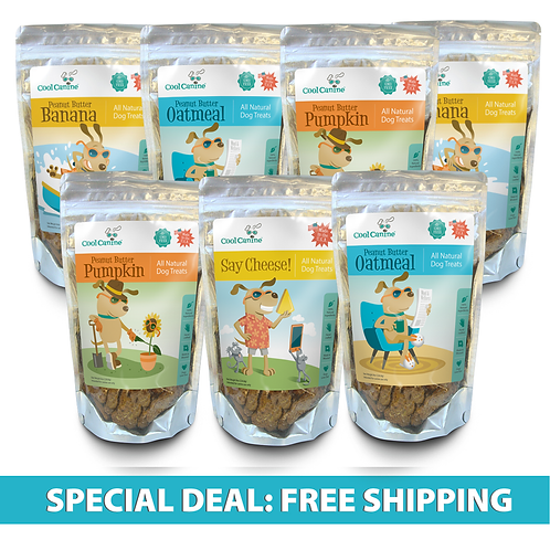Combo 7-Pack Natural Dog Treats (8-oz bags) - Choose Your Flavors