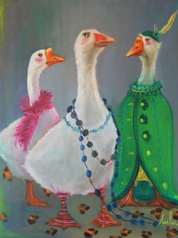 2011 HUILE ANIMAL Les Oies de Jeanne 60X