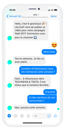 Scio Plateforme d'influence Messenger